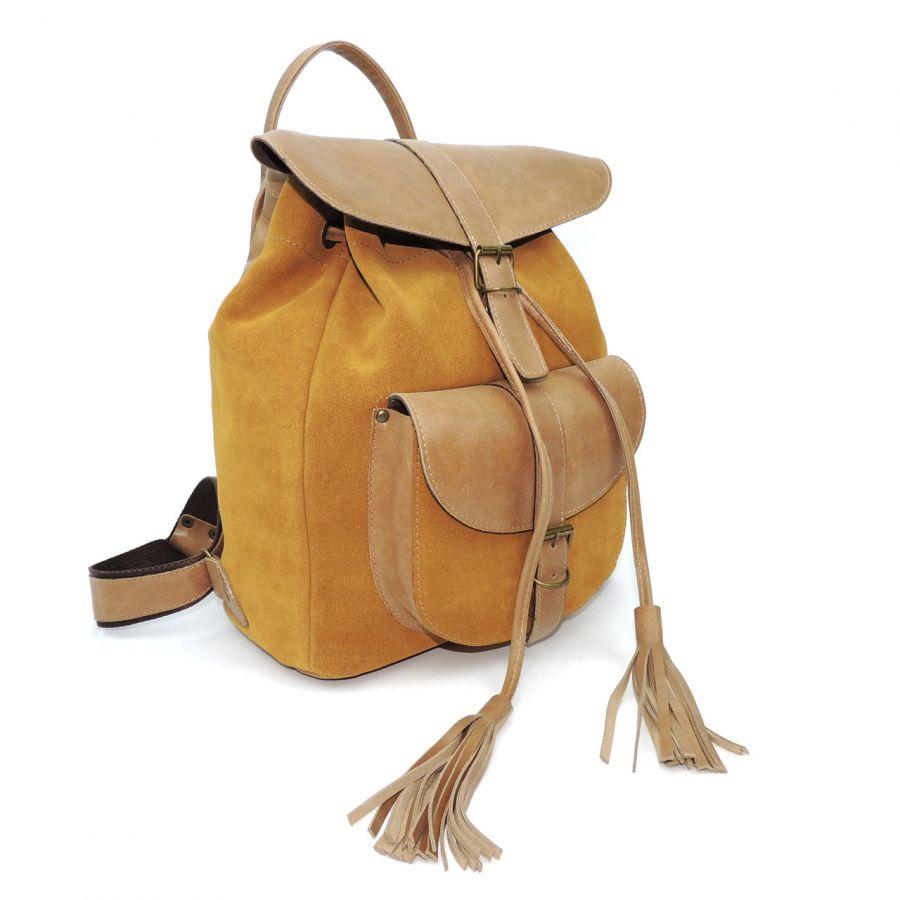 """Бежевый кожаный женский рюкзак  """"Бохо"""" замша"""
