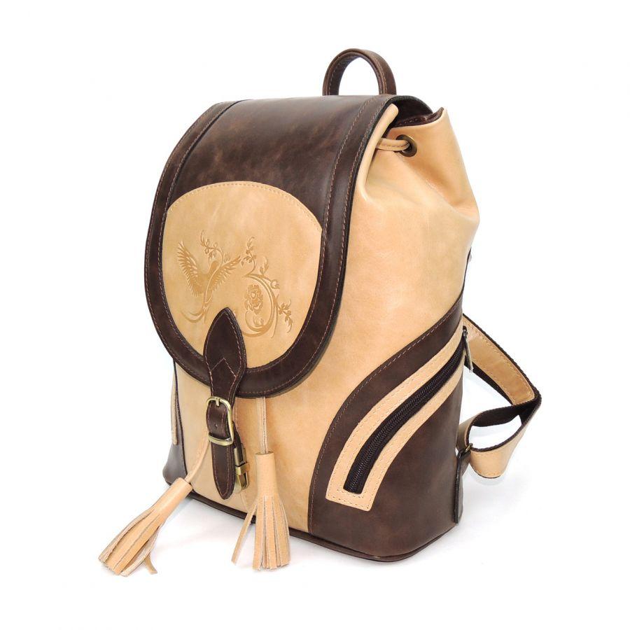"""Рюкзак женский кожаный коричнево-бежевый  """"Ксантия"""""""