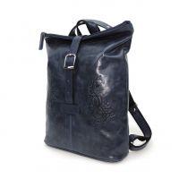 "Синяя кожаная сумка-рюкзак  ""Карла"""