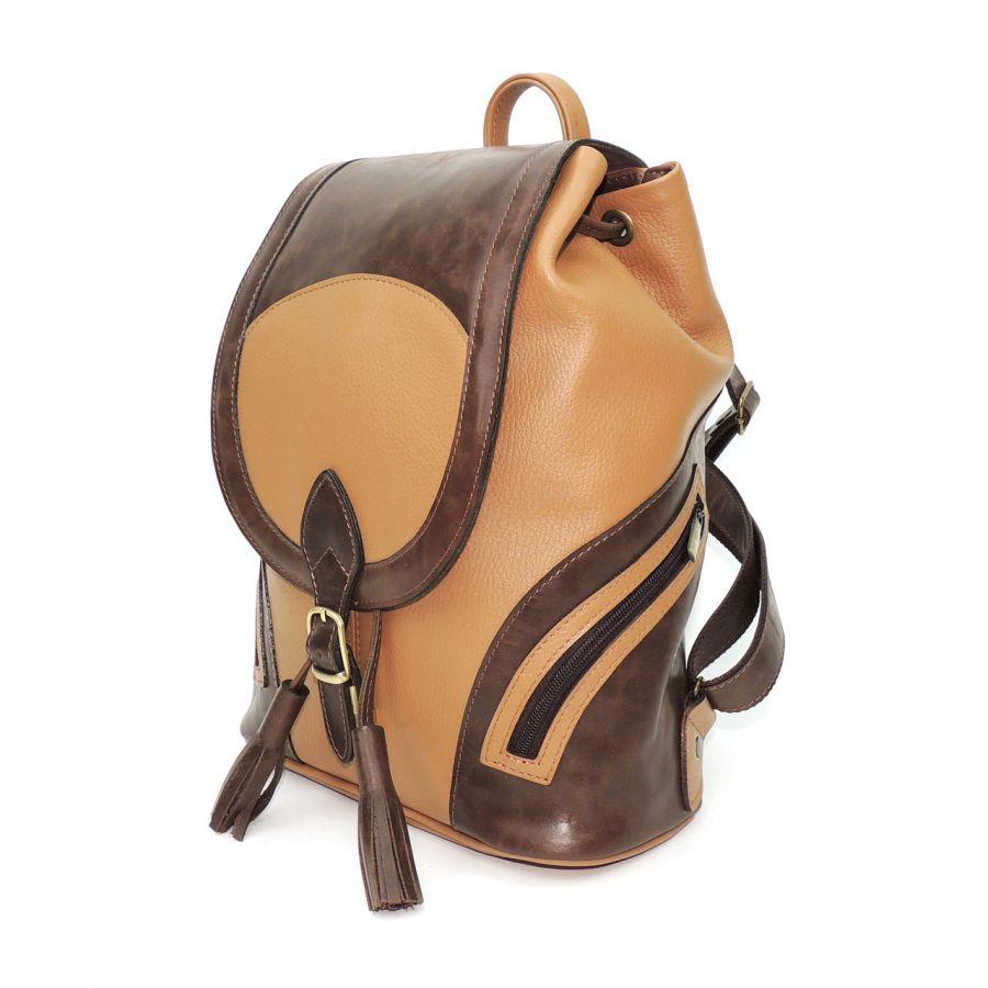 """Рюкзак женский кожаный коричнево-бежевый  """"Миреия"""""""