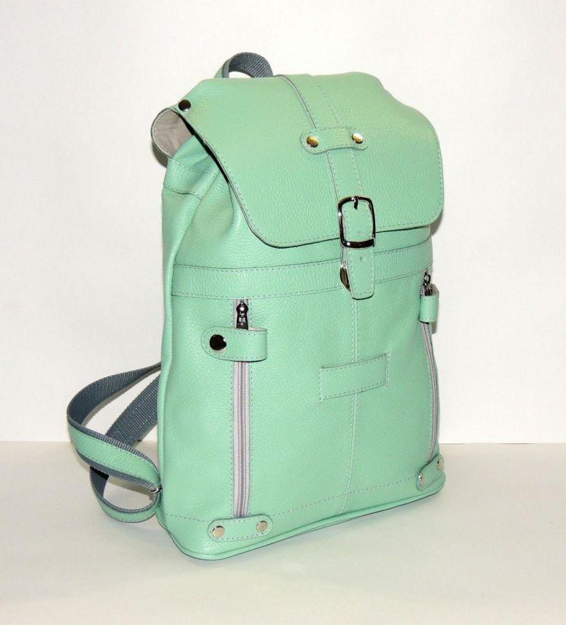 """Зеленый кожаный рюкзак  """"Фисташка"""""""