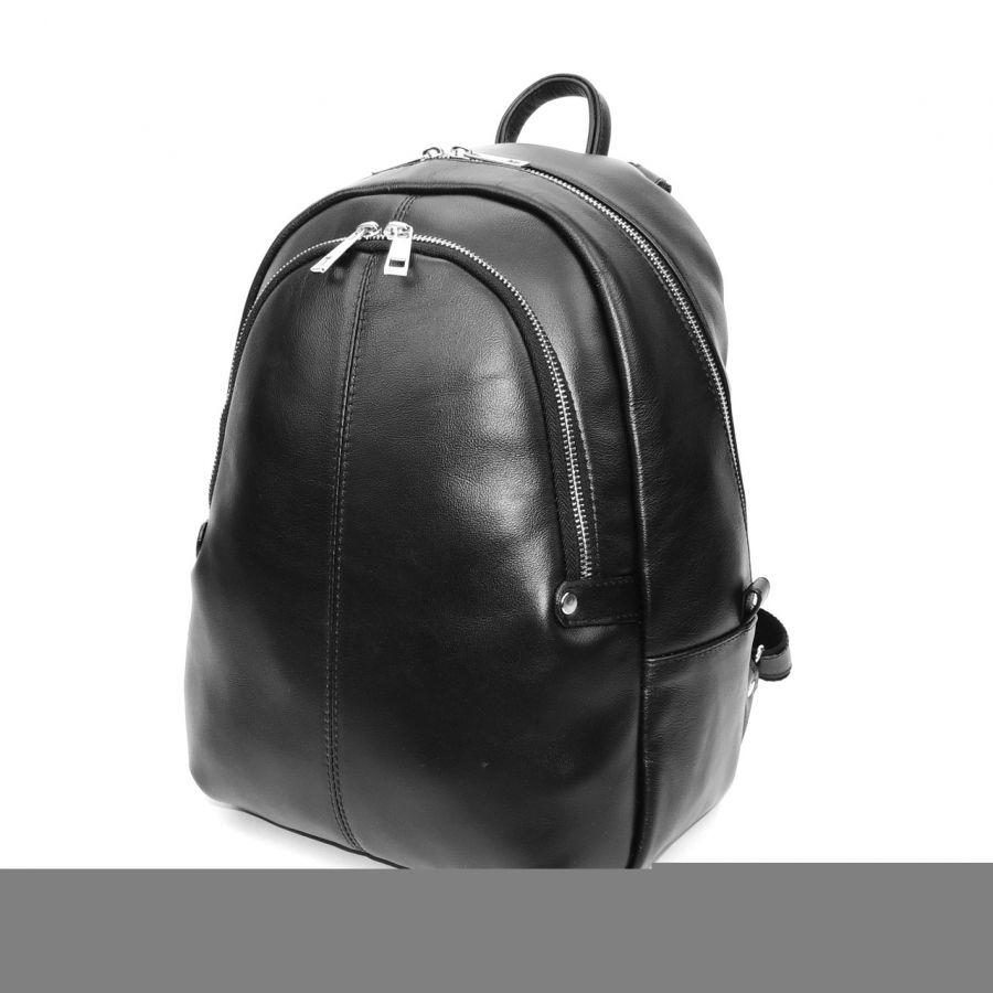"""Черный кожаный рюкзак  """"Маргарет"""""""
