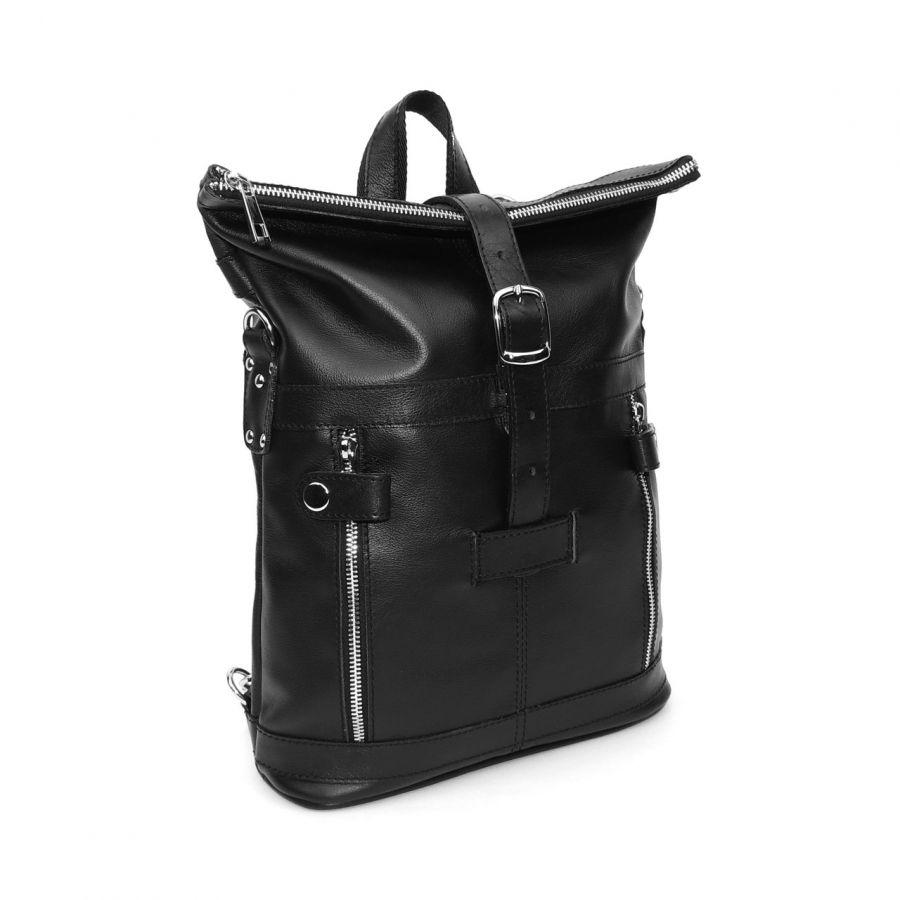 """Черная кожаная сумка-рюкзак  """"Делия"""""""