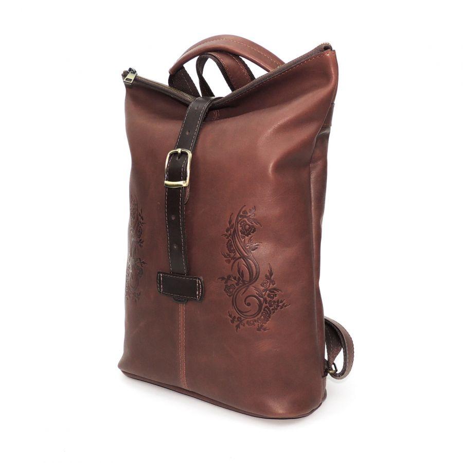 """Коричневая кожаная сумка-рюкзак  """"Роберта"""""""