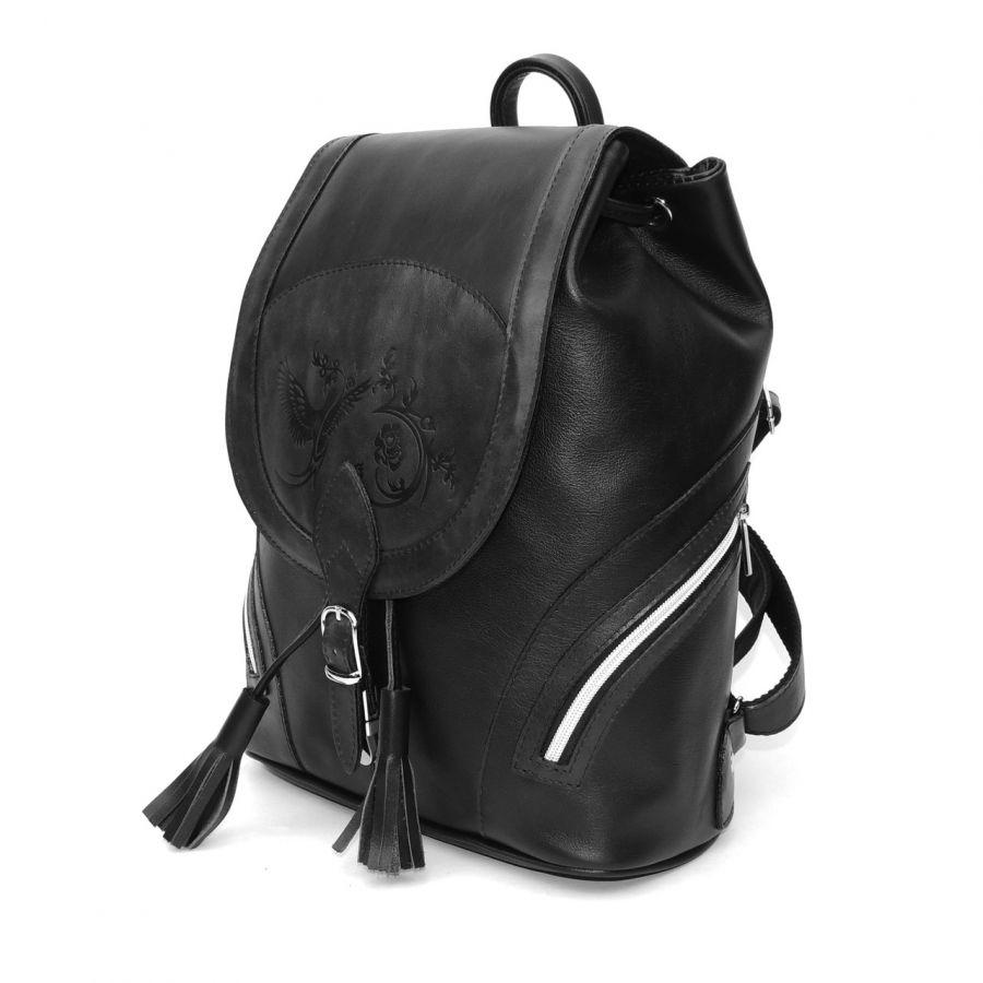 """Черный кожаный рюкзак  """"Тейде"""""""