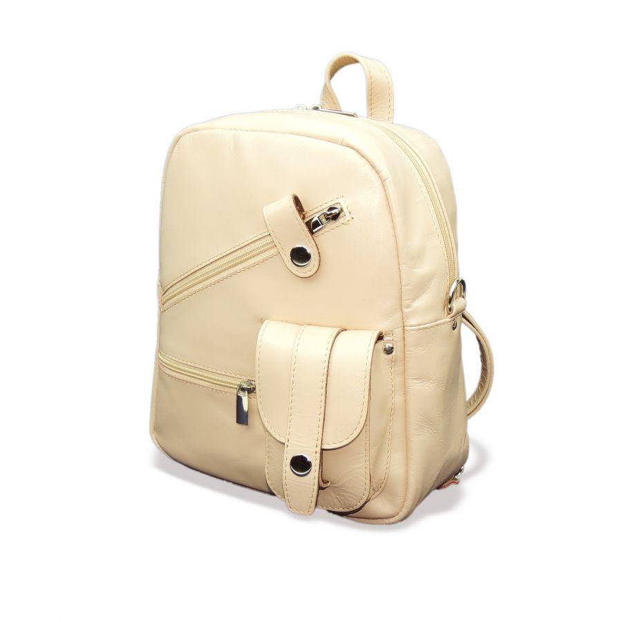 "Стильная розовая кожаная сумка-рюкзак  ""Аина"""