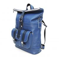 """Голубая кожаная сумка-рюкзак  """"Сан-Тропе"""""""