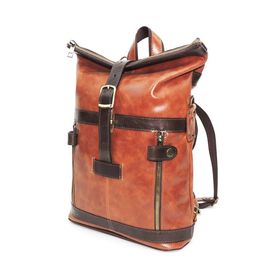 """Рыжая кожаная сумка-рюкзак  """"Ифе"""""""