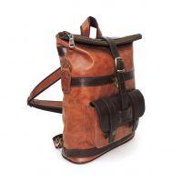 "Кожаная рыжая сумка-рюкзак  ""Джойс"""