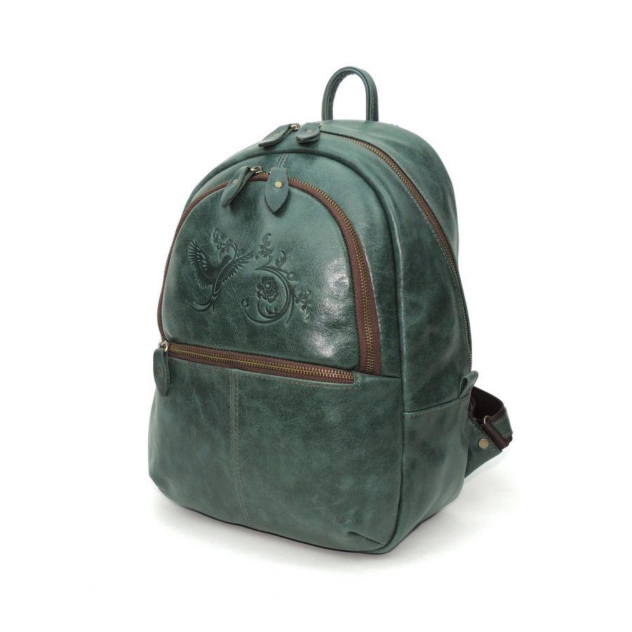 """Зеленый кожаный рюкзак  """"Малахит"""""""