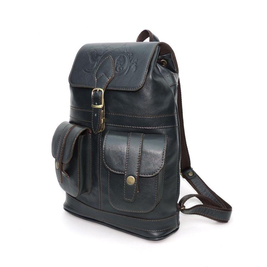 """Кожаный рюкзак женский зеленый  """"Гринто"""""""