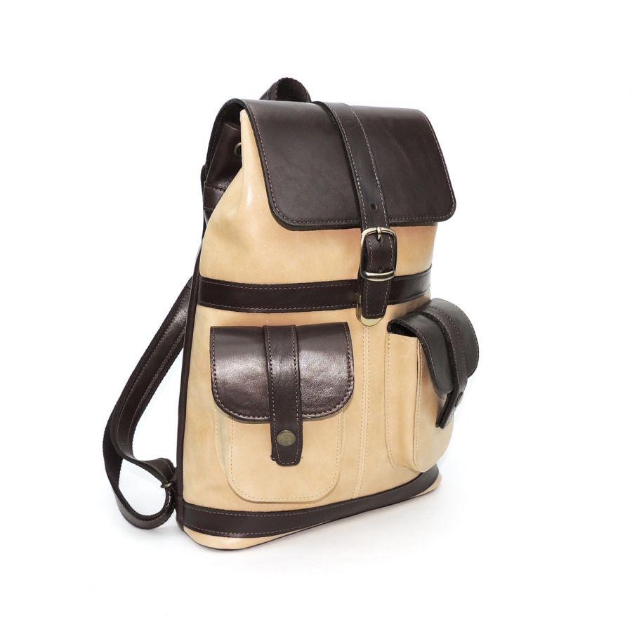 """Бежево-коричневый кожаный рюкзак  """"Вианн"""""""