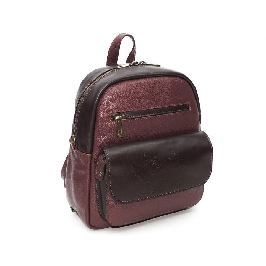 """Бордовый кожаный рюкзак-сумка  """"Бэрри"""""""