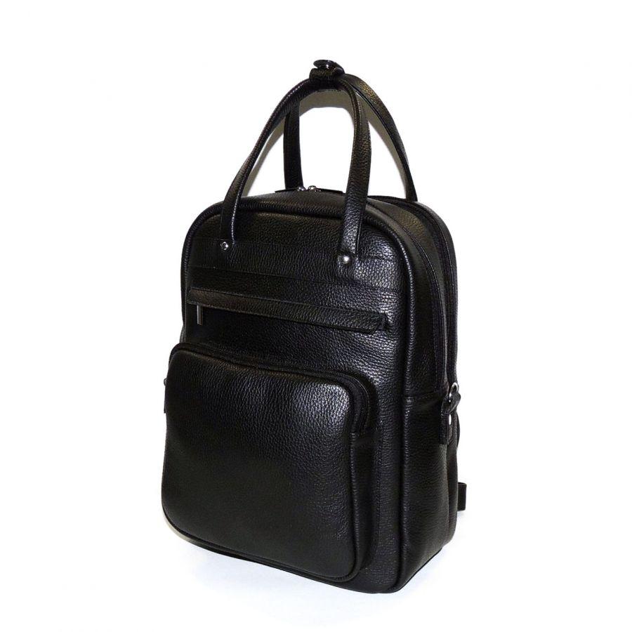 """Черная кожаная сумка-рюкзак  """"Васко"""""""