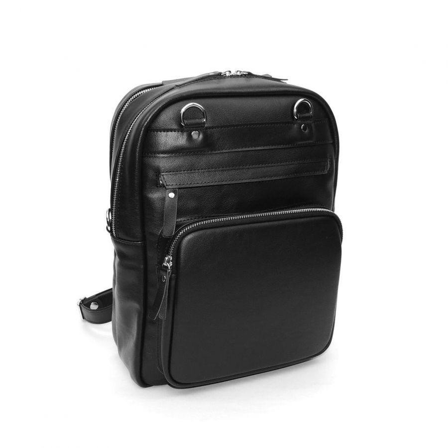 """Черная кожаная сумка-рюкзак  """"Камила"""""""
