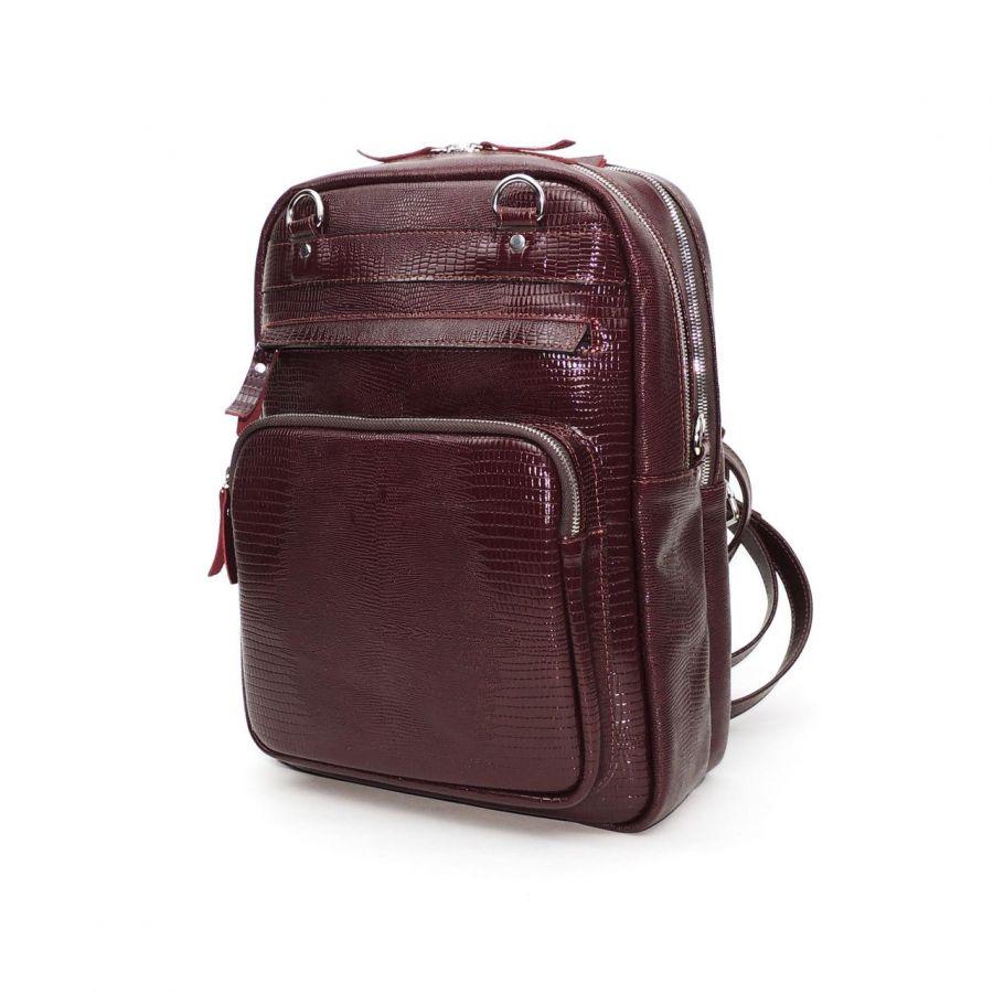 """Бордовая кожаная сумка-рюкзак  """"Ширли"""""""