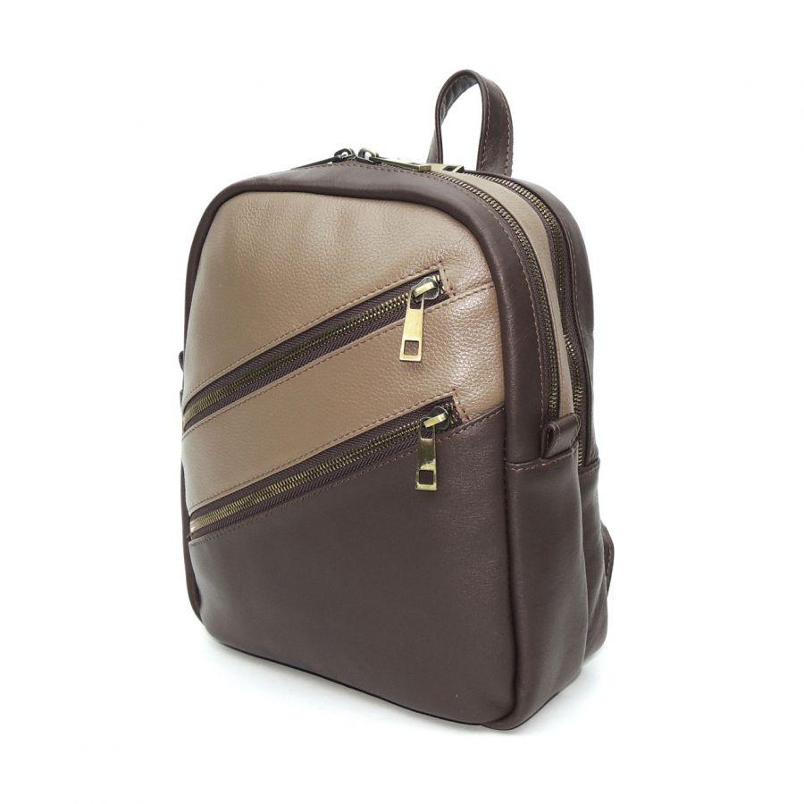 """Классический бежевый кожаный рюкзак женский  """"Латте"""""""
