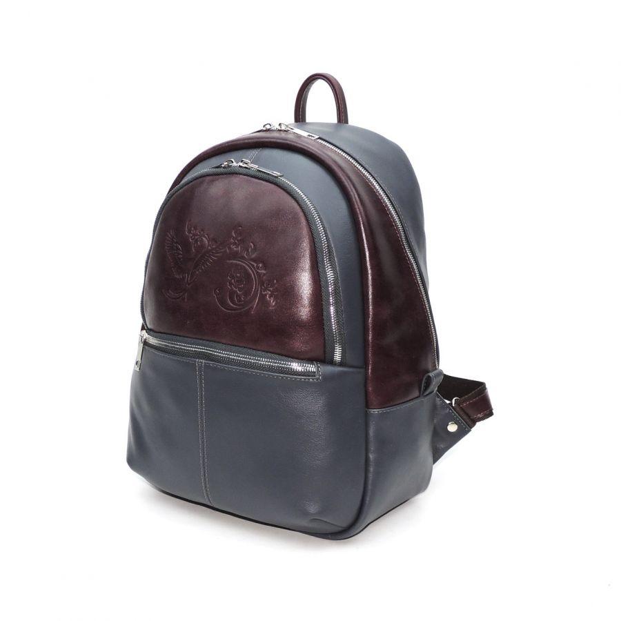 """Серый с вишнёвым кожаный рюкзак  """"Рокси"""""""