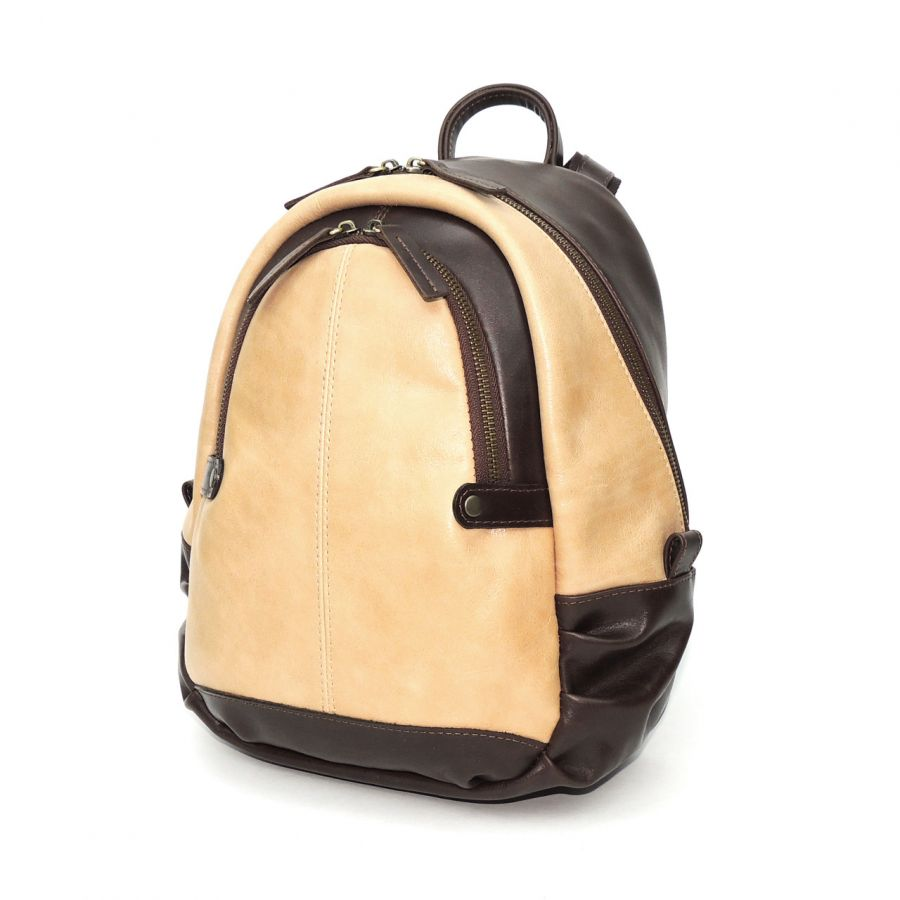 """Коричнево-бежевый кожаный рюкзак  """"Бетти"""""""