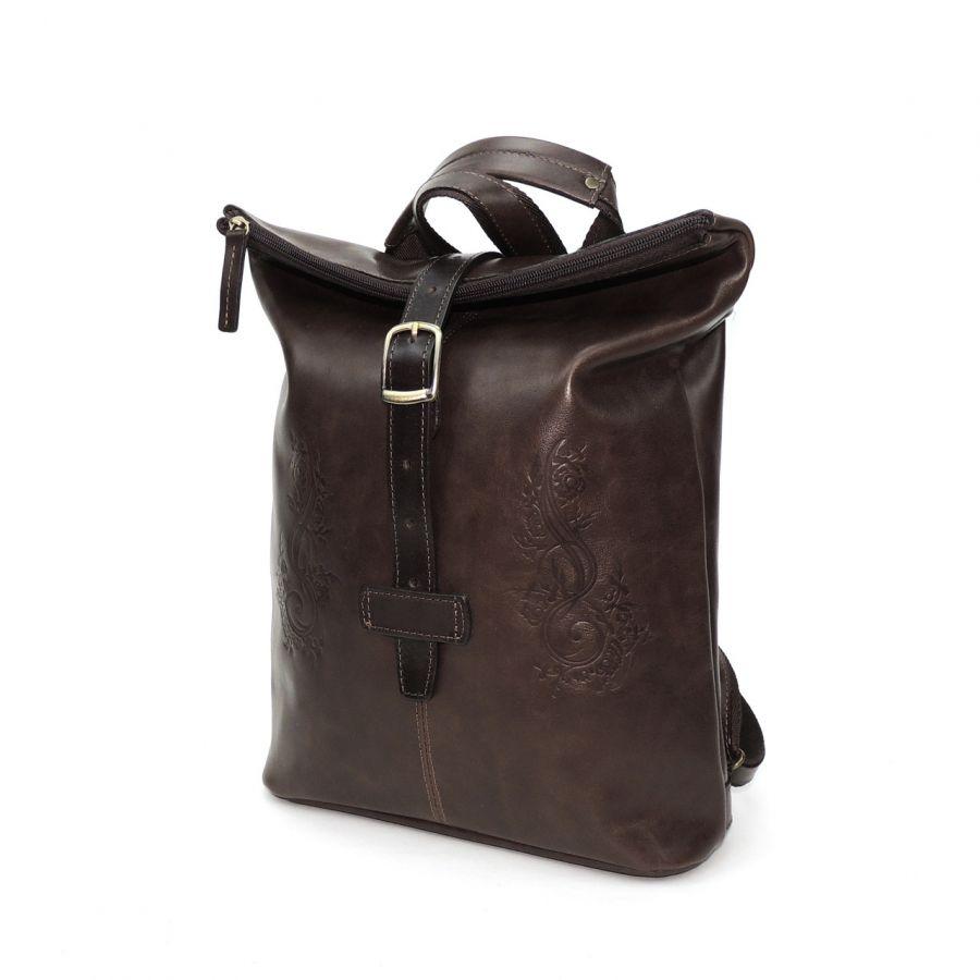 "Коричневая кожаная сумка-рюкзак  ""Глори"""