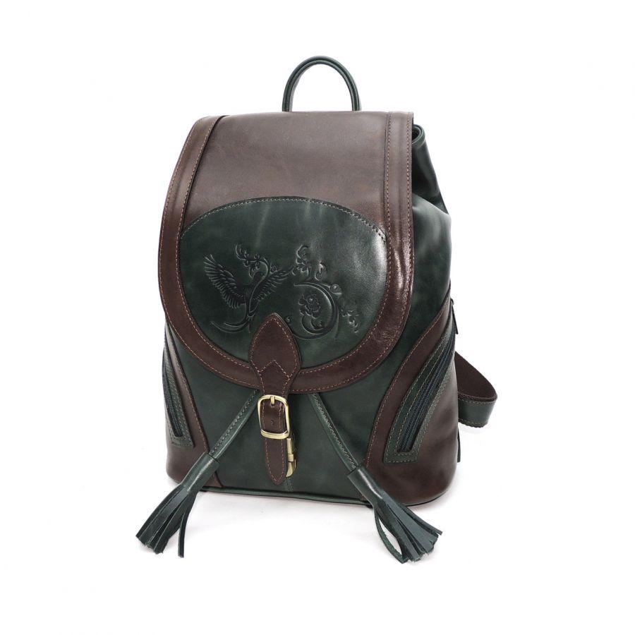 """Зеленый кожаный рюкзак женский  """"Стасия"""""""