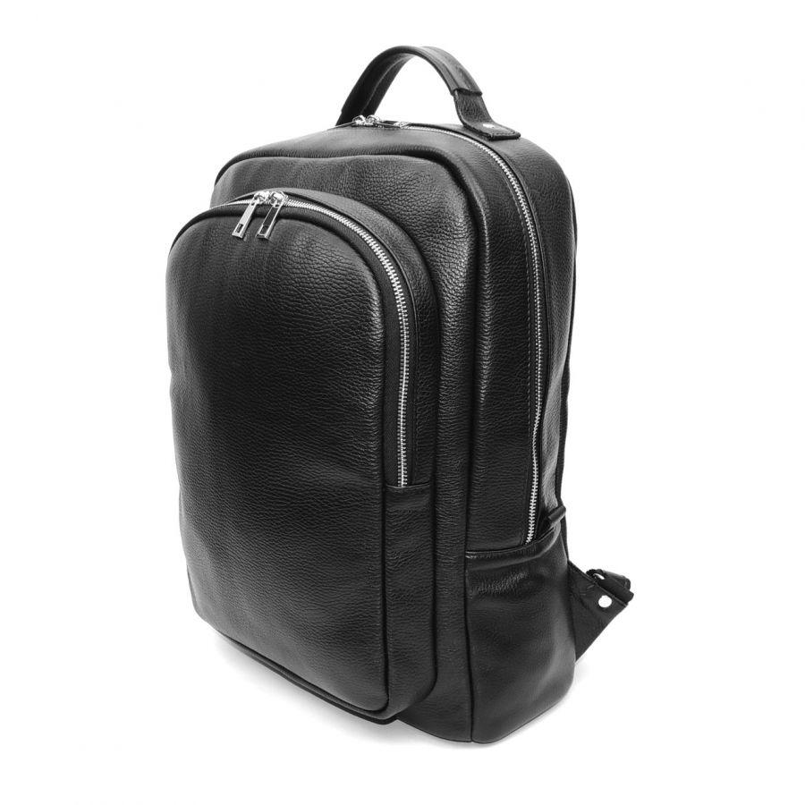 Вместительный черный мужской кожаный рюкзак  Viktor