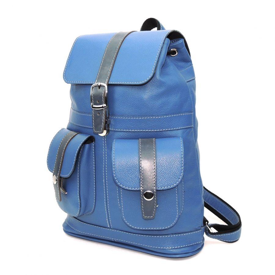 """Голубой женский кожаный рюкзак  """"Ультрамарин"""""""