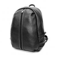 Городской черный кожаный рюкзак А4