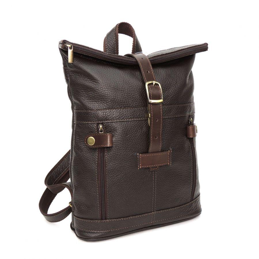 """Практичный городской коричневый кожаный рюкзак  """"Час Пик"""""""
