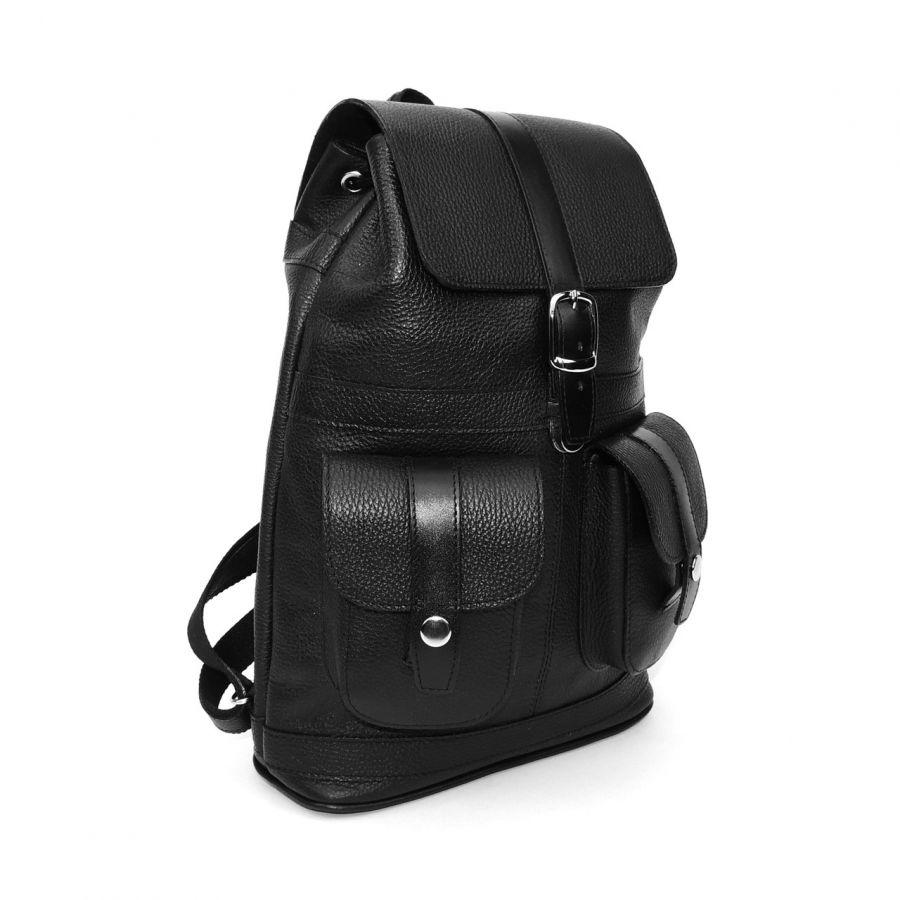 """Черный кожаный рюкзак  """"Классика"""""""