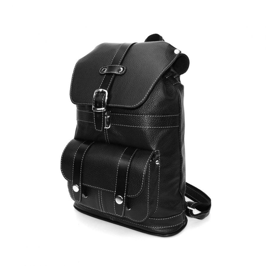 """Городской черный кожаный рюкзак  """"Экспресс"""""""