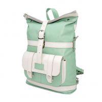 "Зеленая сумка-рюкзак кожаная  ""Мята"""