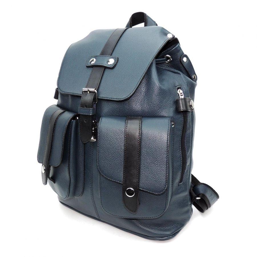 """Синий кожаный рюкзак  """"Фортунато"""""""