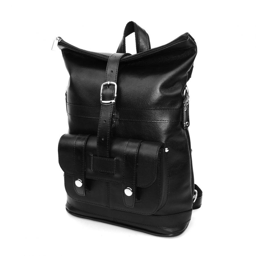 """Сумка-рюкзак кожаная черная  """"Конти"""""""