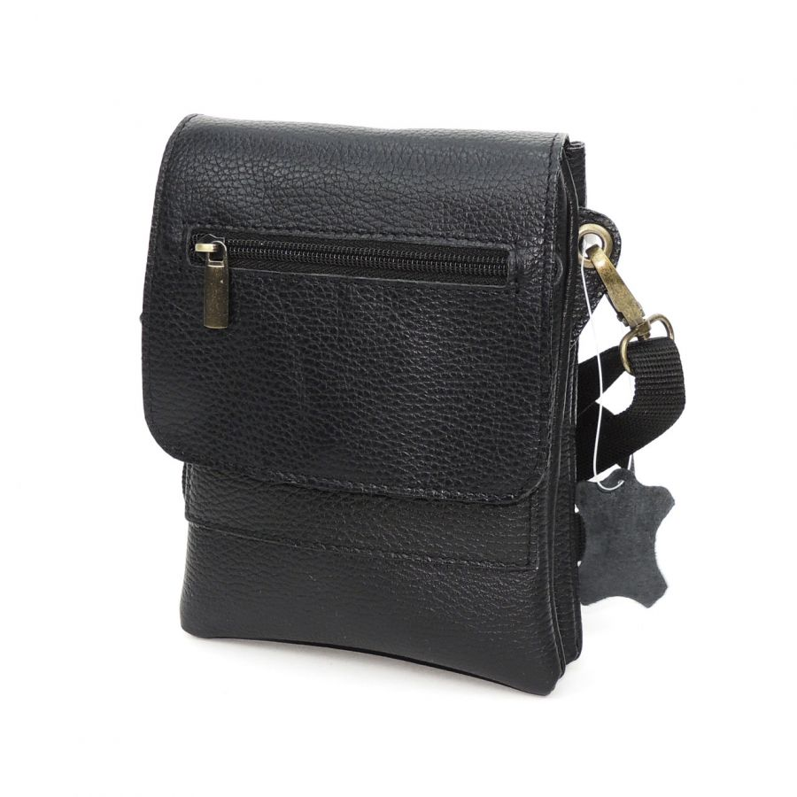 "Черная кожаная мужская сумка  ""Тайм"""
