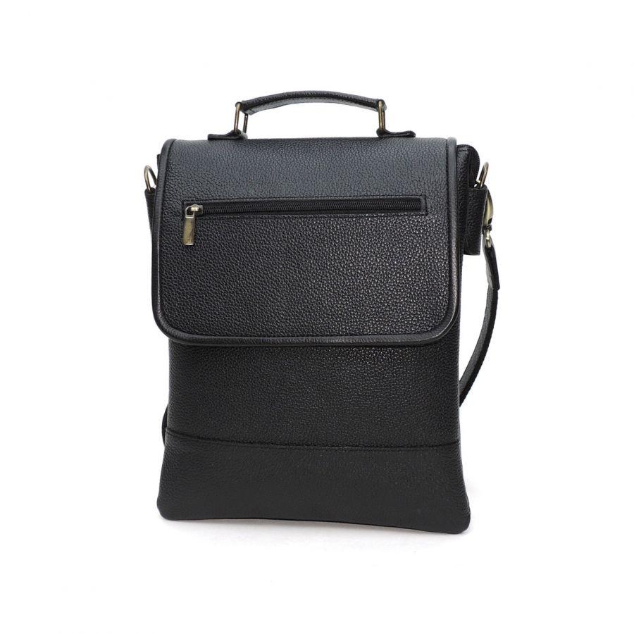"""Черная мужская кожаная сумка-планшет  """"Алерайо"""" магнит"""