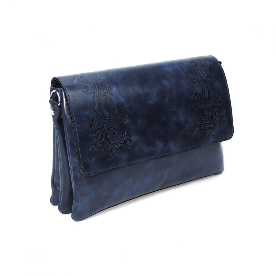 """Женская синяя кожаная сумка  """"Алита"""""""