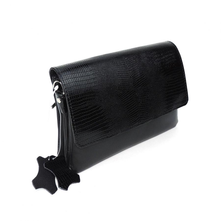 """Черная женская кожаная сумка  """"Черная жемчужина"""""""