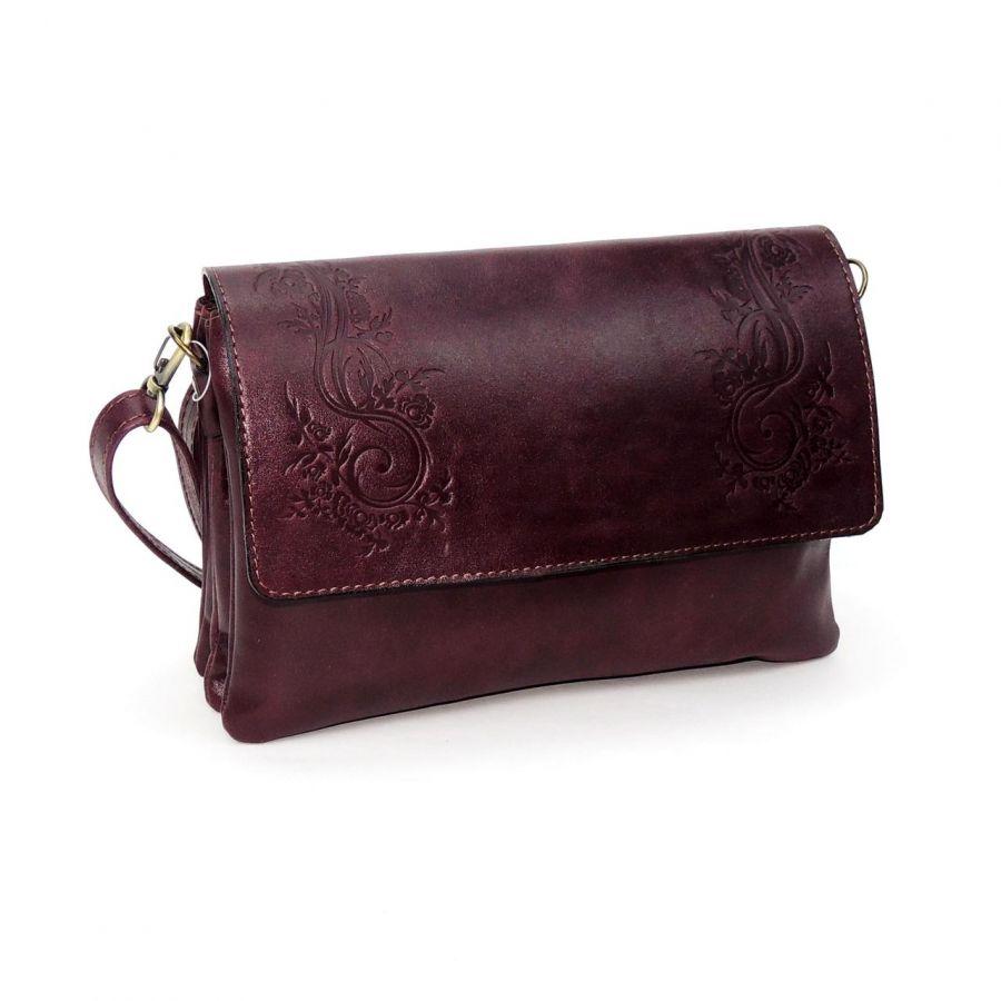 """Женская бордовая кожаная сумка  """"Альда"""""""