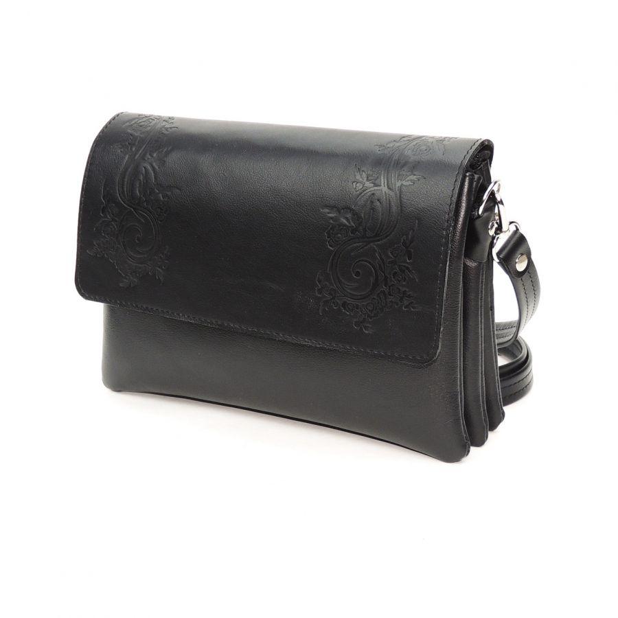 """Женская черная кожаная сумка  """"Келен"""""""