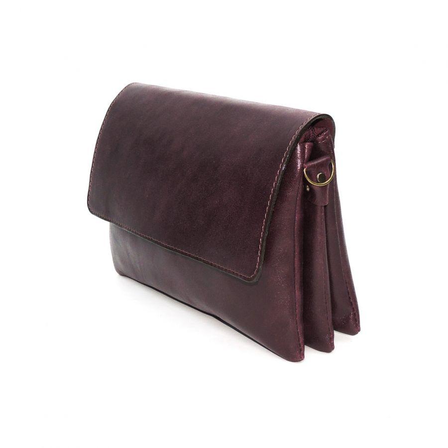 """Женская бордовая кожаная сумка  """"Альда"""" Без тиснения"""
