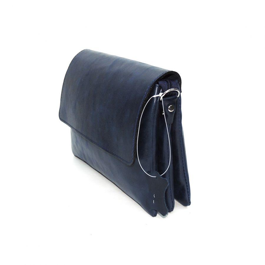 """Женская синяя кожаная сумка  """"Алита"""" Без тиснения"""