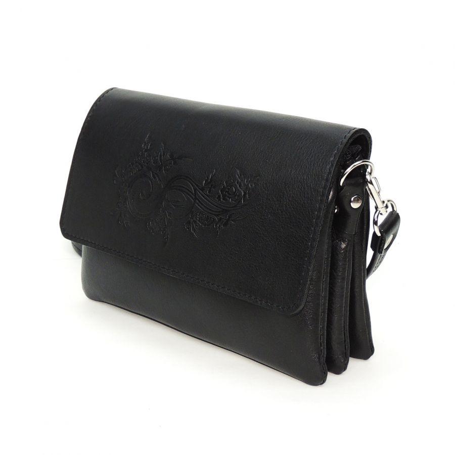 """Черная женская кожаная сумка  """"Мальта"""" Растение"""