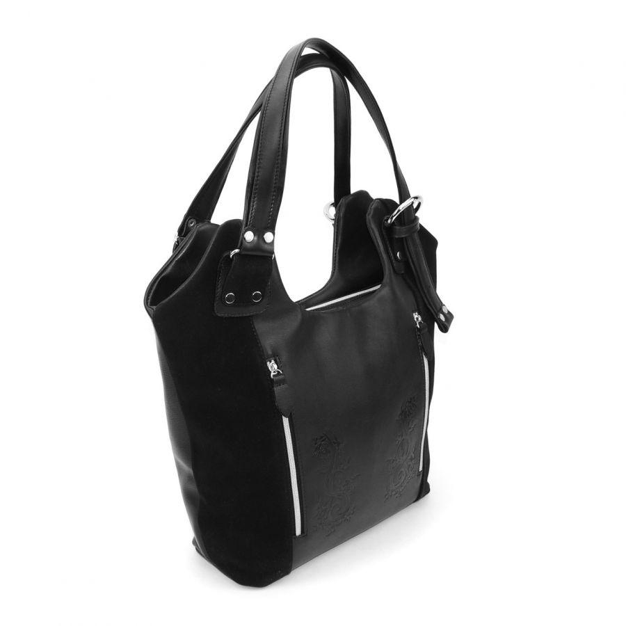 """Черная кожаная сумка  """"Маргарита"""""""