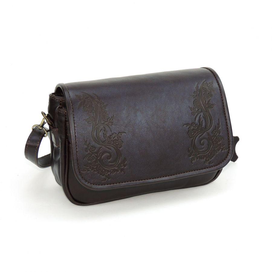 """Коричневая женская кожаная сумка  """"Белла"""""""