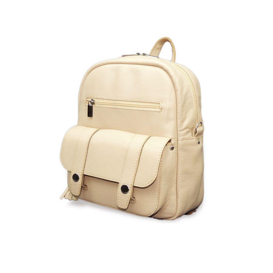 "Светло-бежевая кожаная сумка-рюкзак  ""Лолита"""