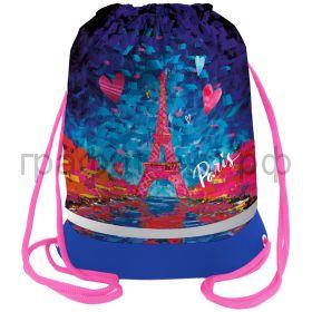 """Сумка для обуви Berlingo 40х51см """"Eiffel Tower"""" расш.дно, светоотр.полоса, карман на молнии MS09440"""