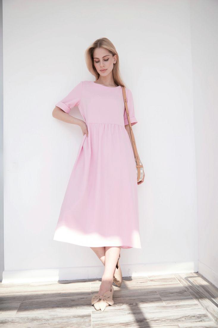 s3992 Платье-миди в нежно-розовом цвете