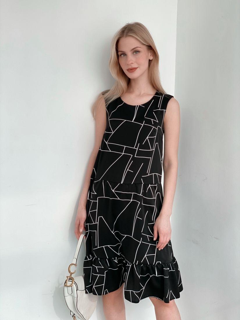 3994 Платье чёрное с графичным принтом