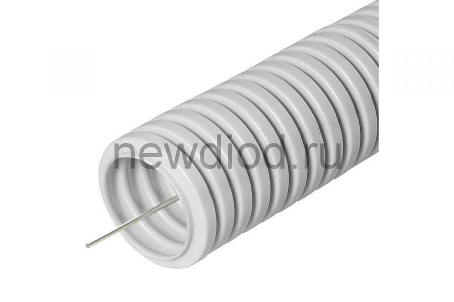 Труба гофрированная ПВХ легкая 350 Н серая с/з д25 (50м/2600м уп/пал) Промрукав